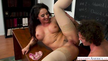 Sexy Teacher Rides Cock On Desk