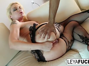 Blonde Leya Falcon In Fishnets Enjoys In Hardcore Sex