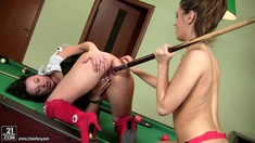 Lesbians Lana And Alysa Gap Play Pool And Do Anal