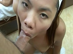 Dark Haired Asian Sucks Throbbing Dick In POV Before Sex