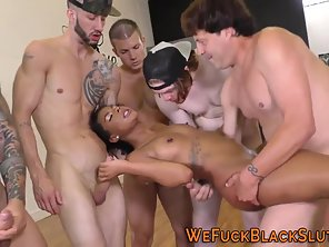 Black Babe Naked Then Slammed In Group Until Cum Facial