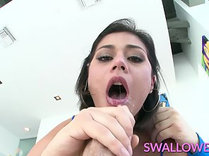 On Knee Penelope Reed Swallows Entire Hard Dick In POV