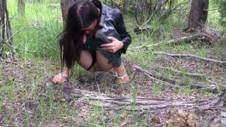 Girl Causally Pees In Woods