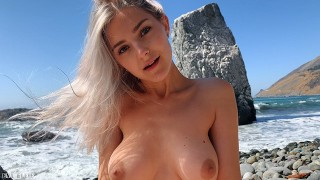 Russian Teen Girl Swallows Hot Cum On Californian Public Beach – Eva Elfie