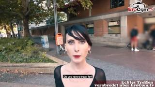 German Piunk Student Teen Public Street Casting Pick Up POV
