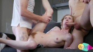 Tiny Natural Teen Slut Takes Two Big Dicks At Once With A Cream Pie Finish